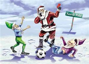 elves-reindeer-games-soccer-greeting-cards